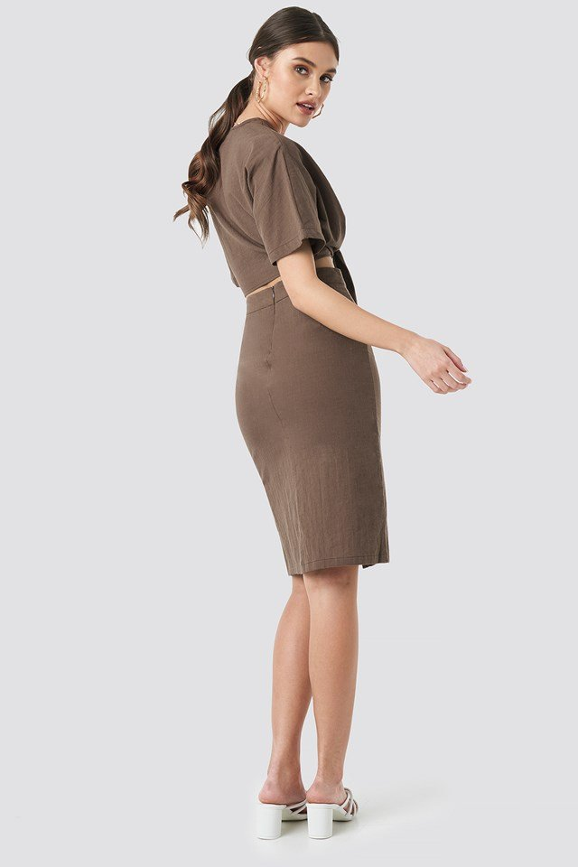 Overlap Linen Look Skirt Brown