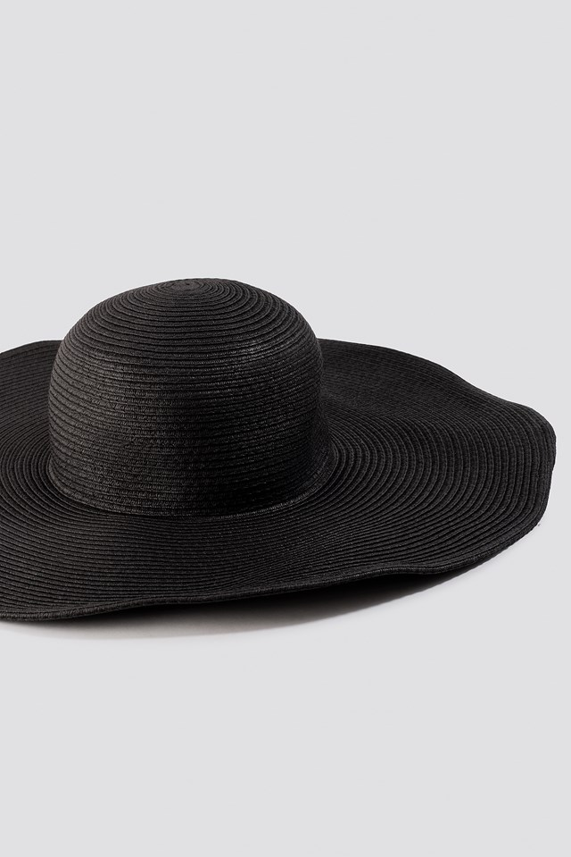 Oversize Straw Hat Black