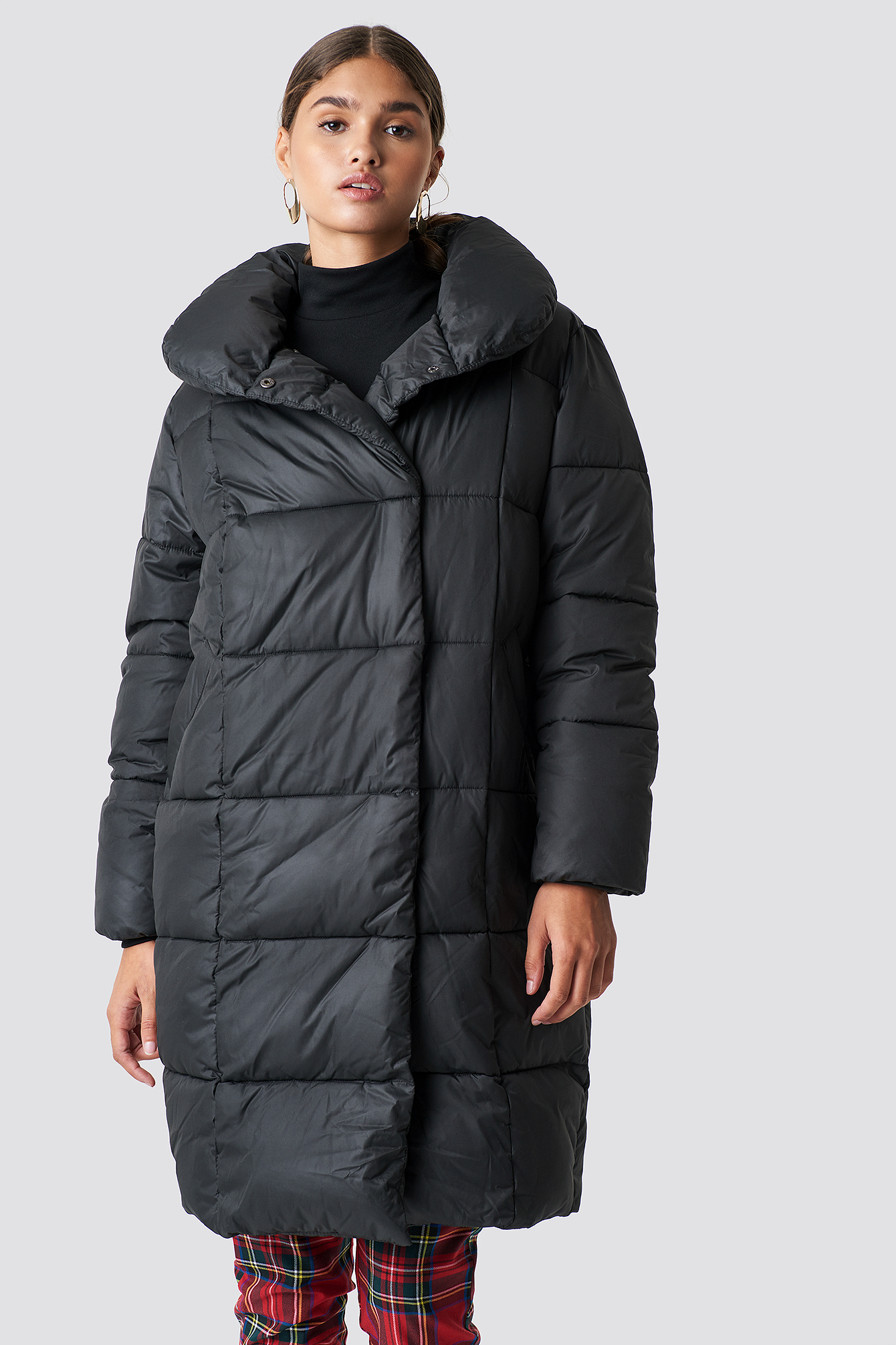 na-kd trend -  Padded Shawl Collar Jacket - Black