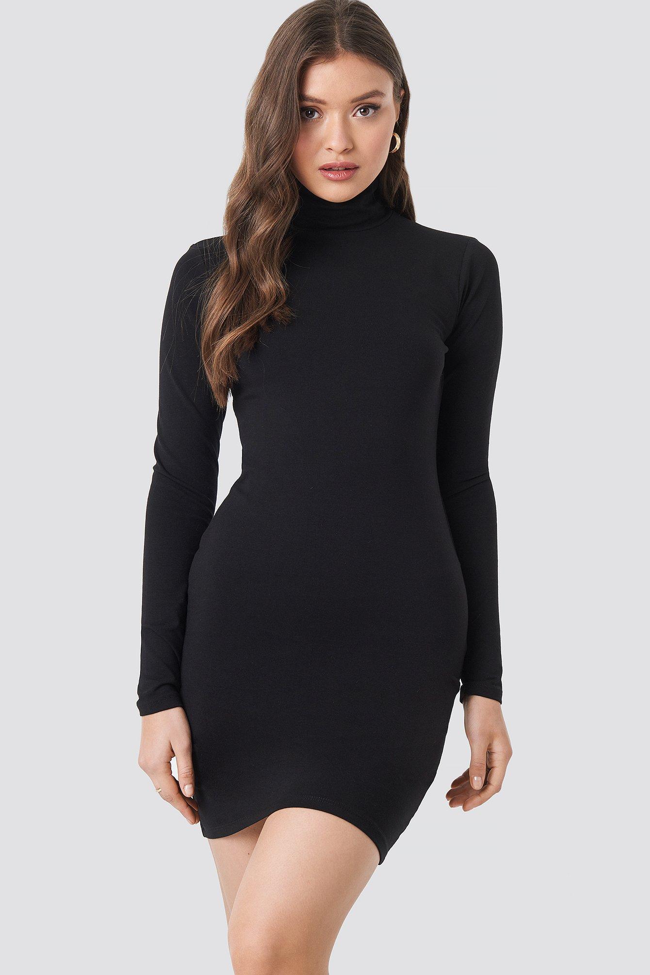 Polo Neck Dress Black Na Kd Com
