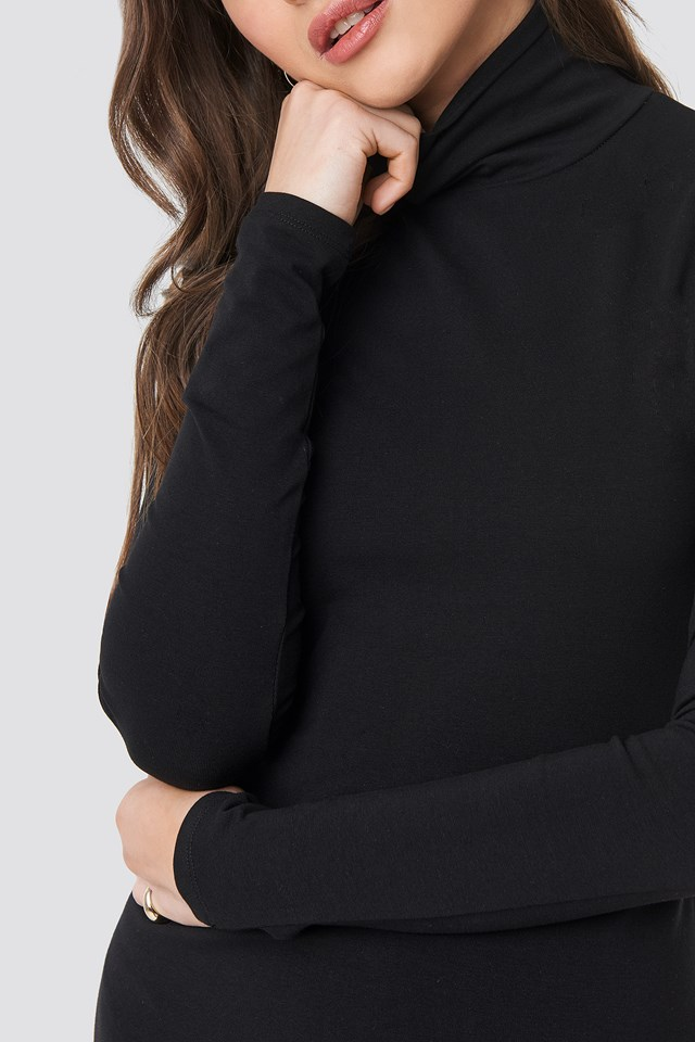 Polo Neck Dress Black