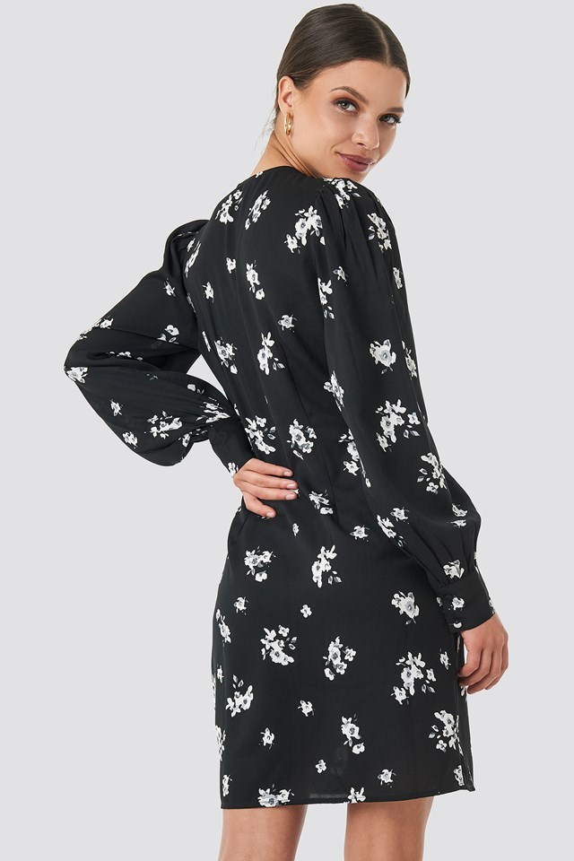 Printed Deep V-neck Front Button Dress Black/White Flower Print