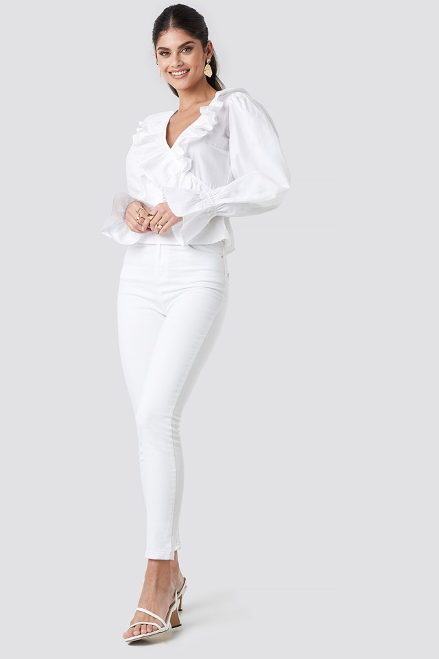 Puff Sleeve Frill Blouse White