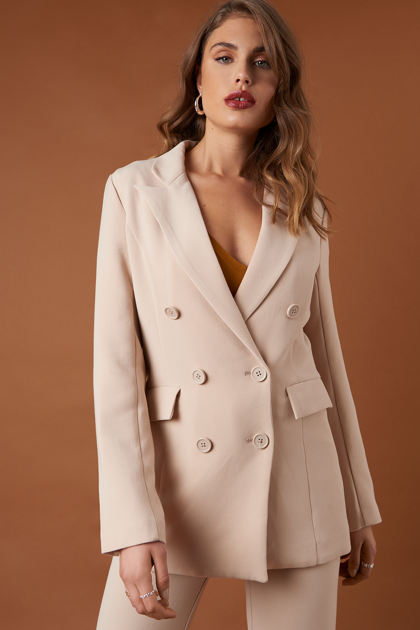 na-kd classic -  Relaxed Double Breasted Blazer - Beige