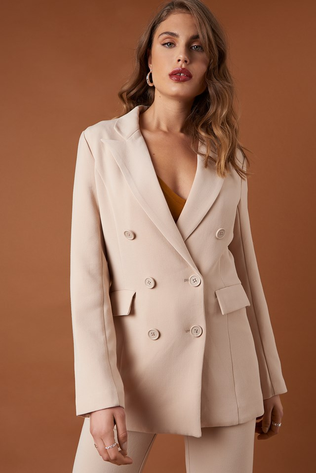 Relaxed Double Breasted Blazer Beige