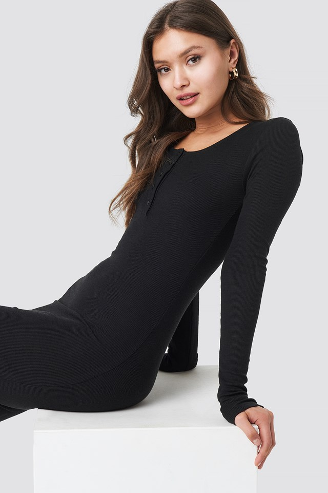 Ribbed Henley Dress Black