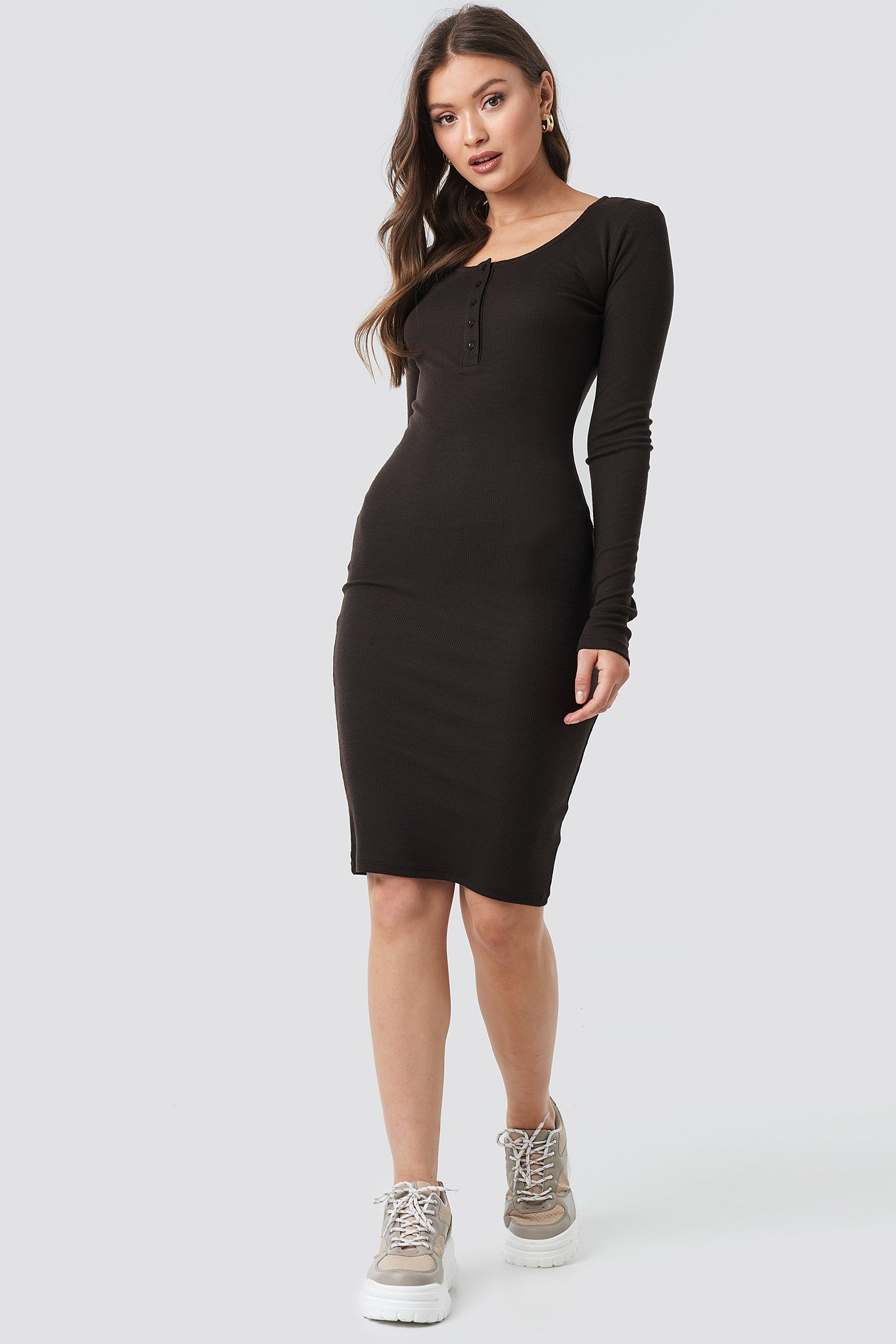 Ribbed Henley Dress NA-KD.COM