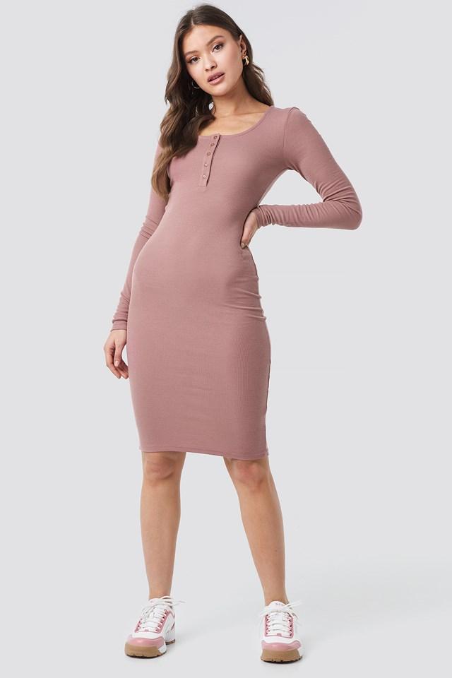 Ribbed Henley Dress Dusty Dark Pink