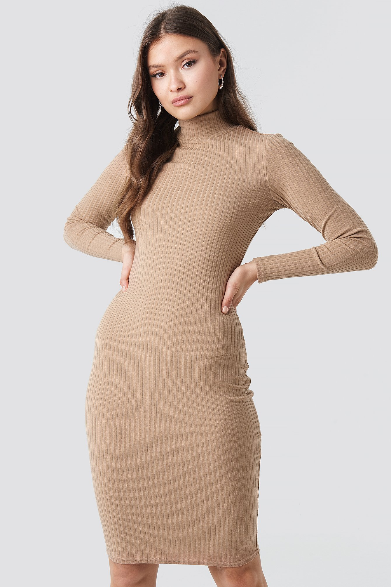 Ribbed High Neck Dress NA-KD.COM