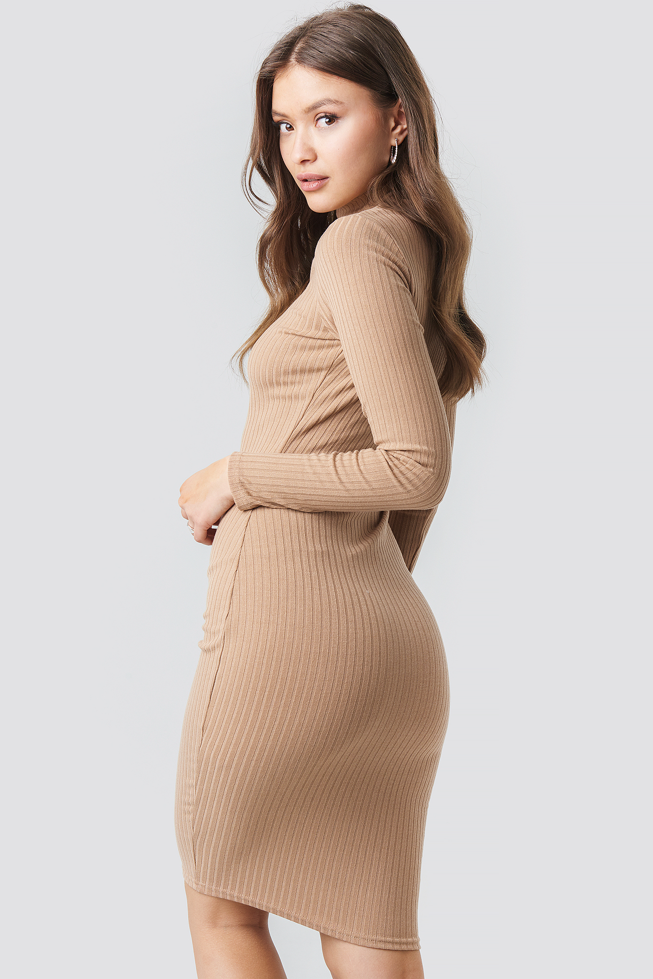 Ribbed High Neck Dress NA-KD.COM
