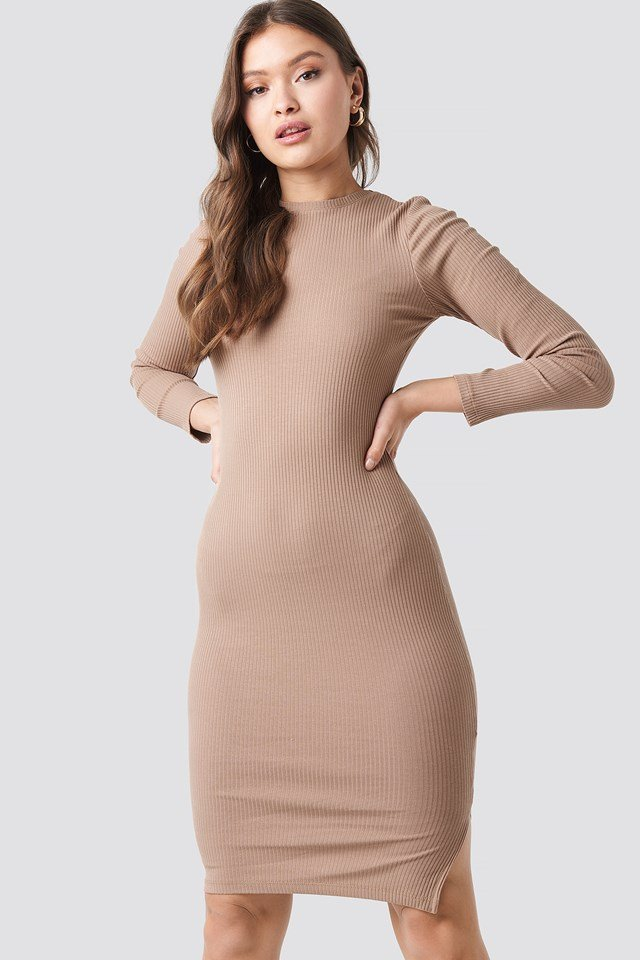 Ribbed Jersey Long Sleeve Dress Beige