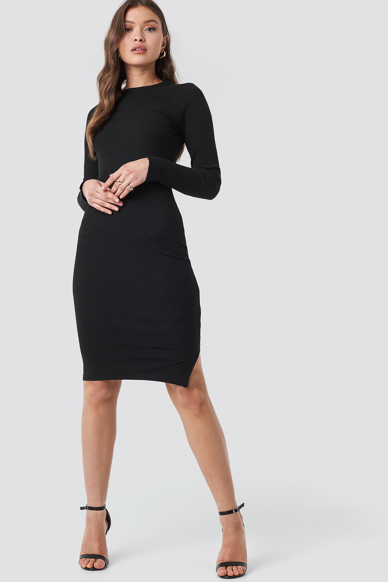 Ribbed Jersey Long Sleeve Dress NA-KD.COM