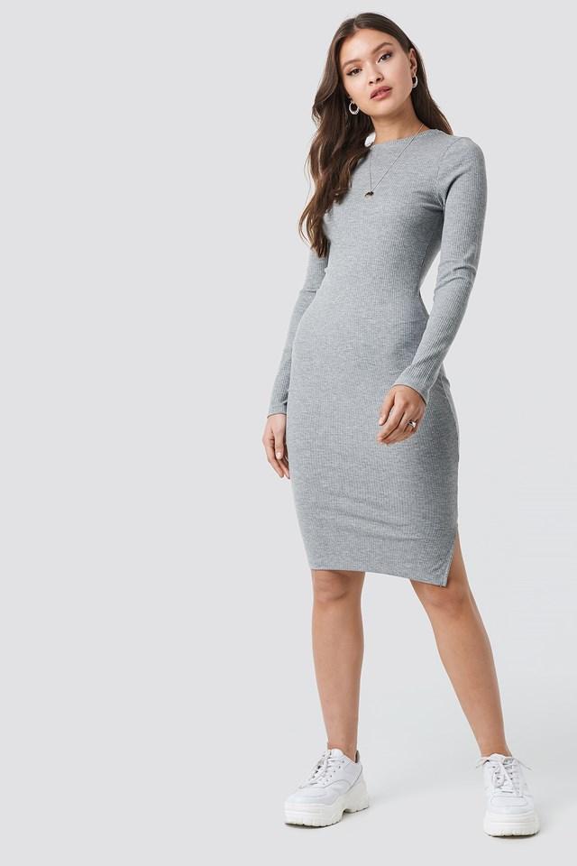 Ribbed Jersey Long Sleeve Dress Grey Melange