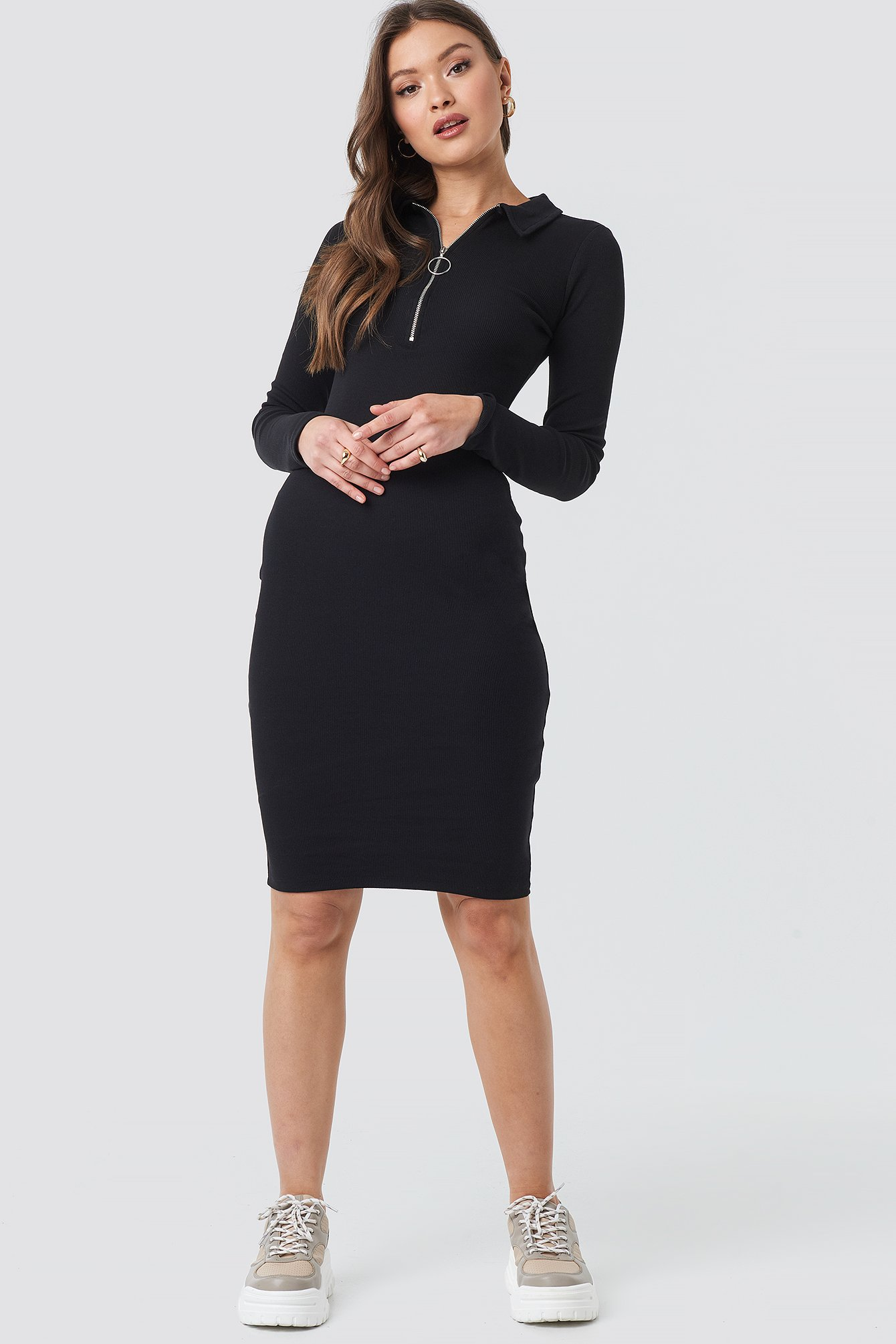 Ribbed Zip Dress NA-KD.COM