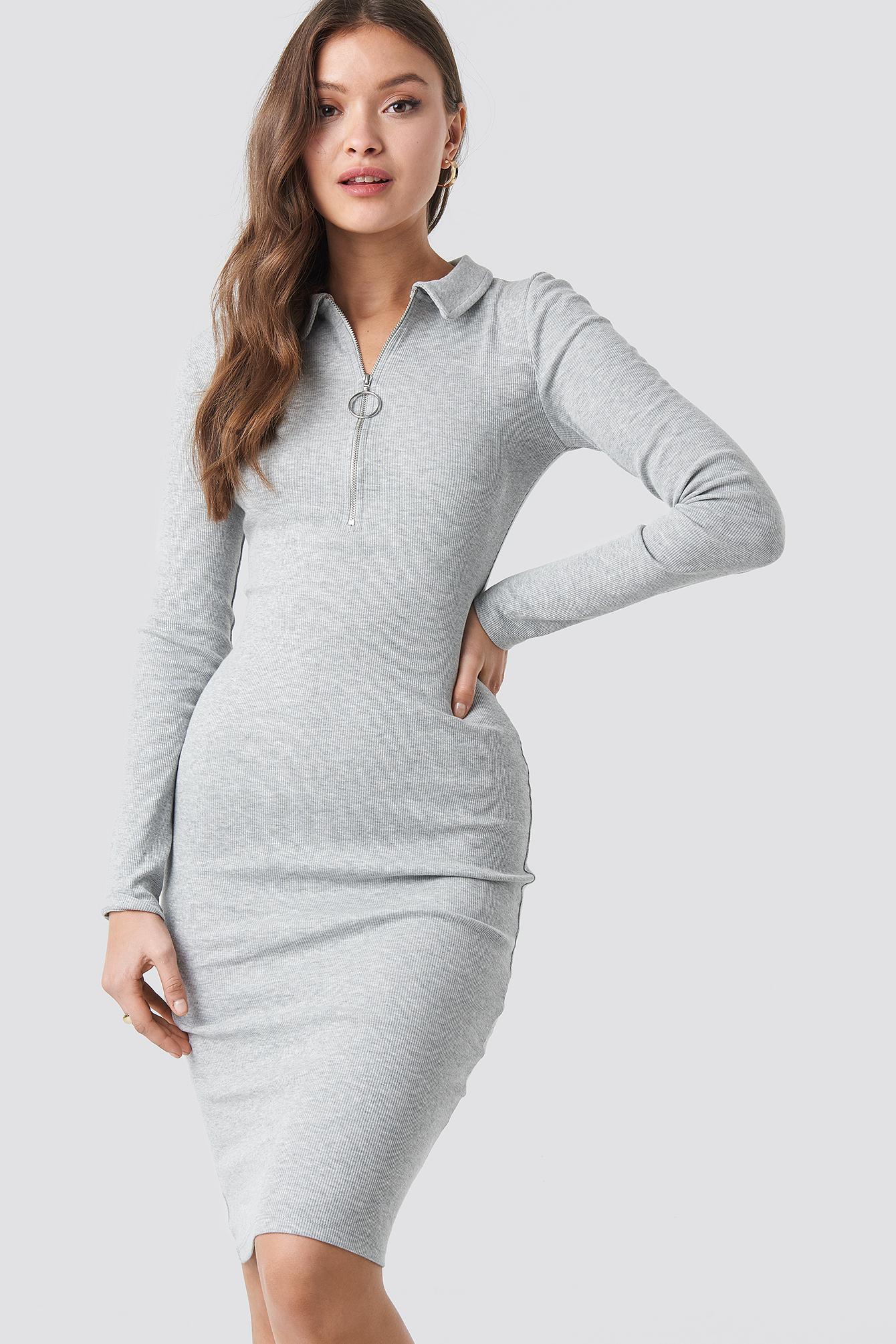 Ribbed Zip Dress NA-KD.COM