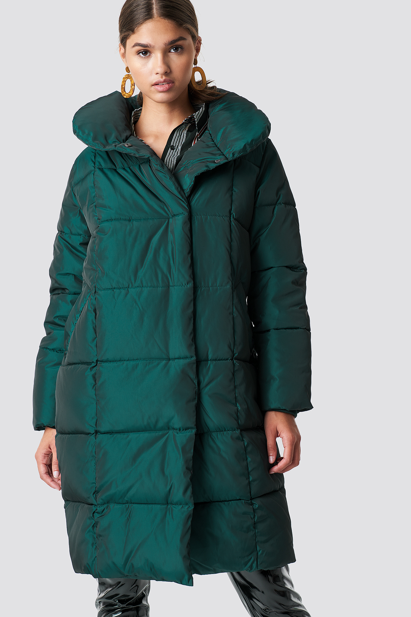 na-kd -  Shawl Collar Shiny Padded Jacket - Green