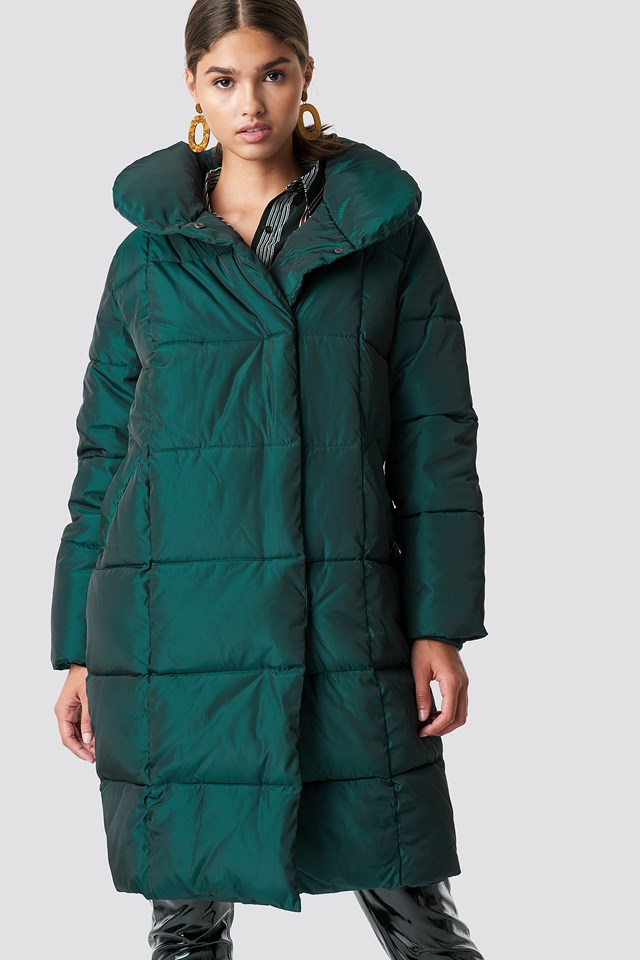 Shawl Collar Shiny Padded Jacket Petrol