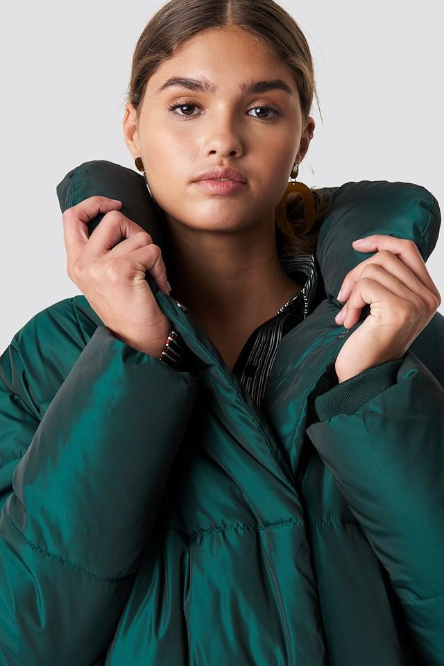 Shawl Collar Shiny Padded Jacket NA-KD.COM