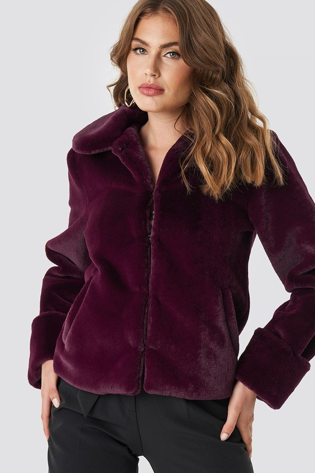 Short Faux Fur Jacket Purple