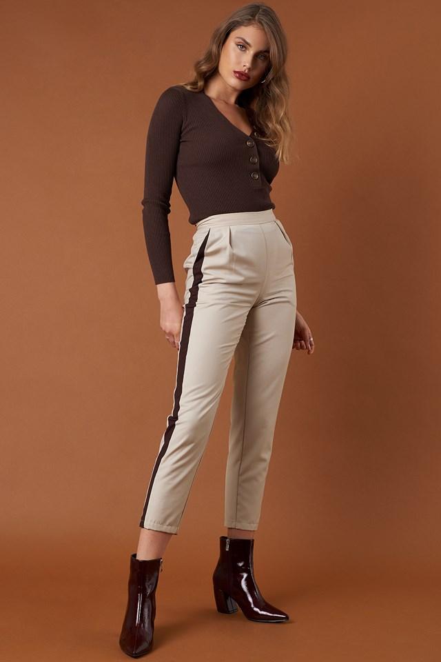 Side Stripe Fitted Pants Beige/Brown