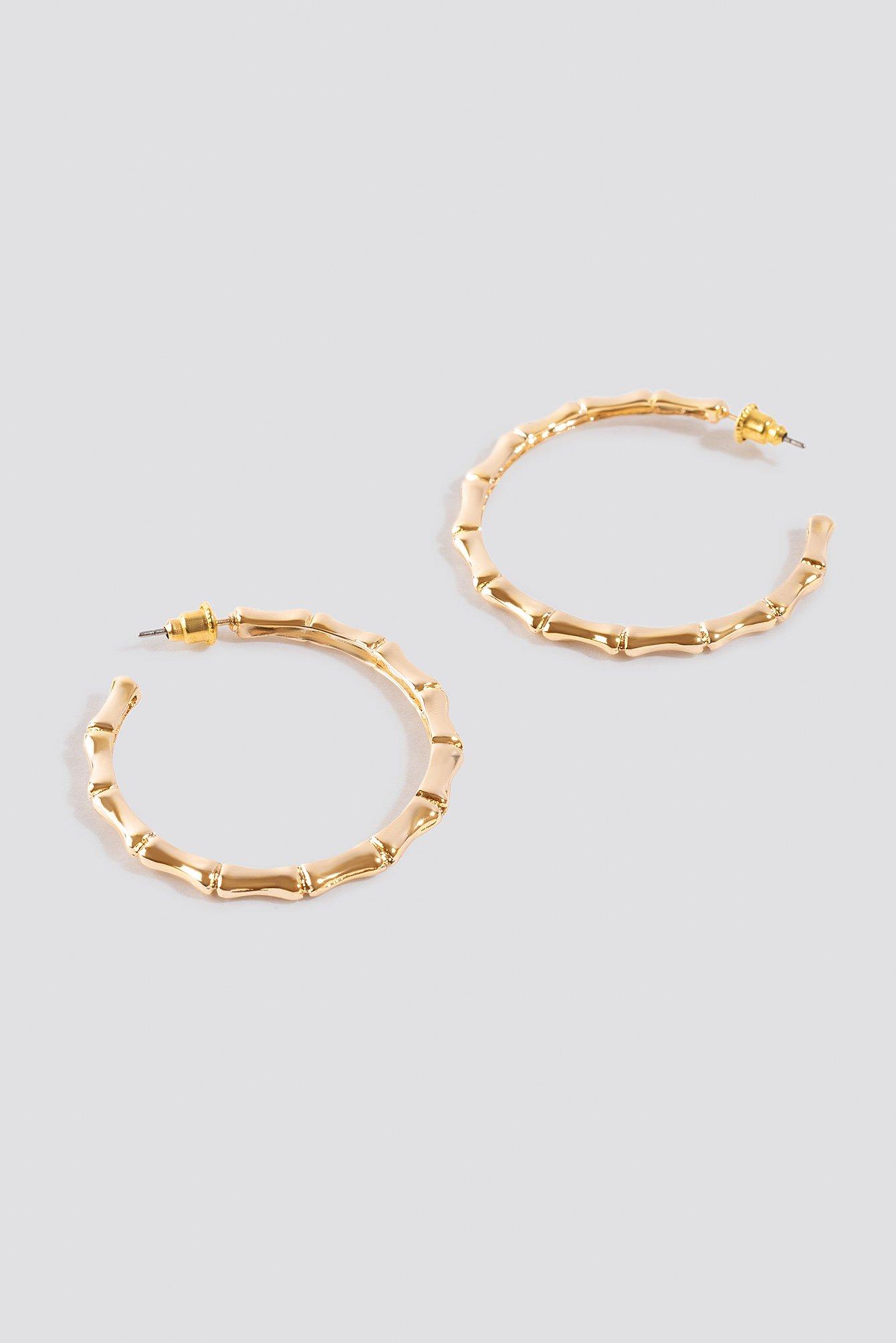 Small Golden Bamboo Hoop Earrings NA-KD.COM