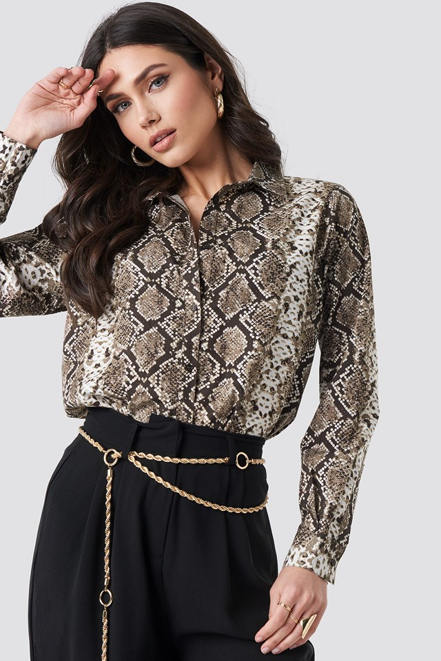 Snake Printed Cotton Shirt NA-KD Trend
