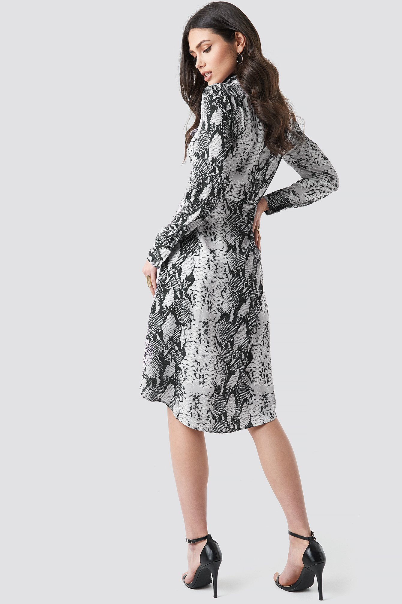 Snake Printed Shirt Dress NA-KD.COM