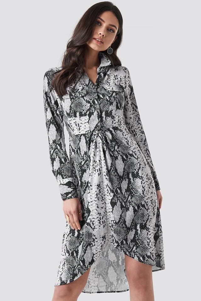 Snake Printed Shirt Dress Grey