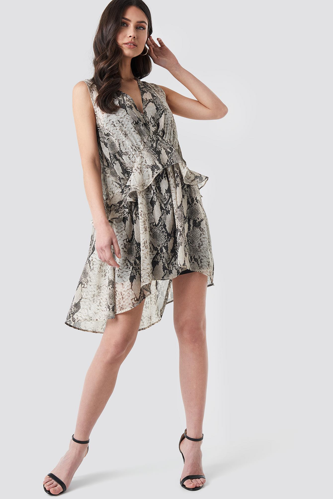 Snake printed Short Chiffon Dress NA-KD.COM