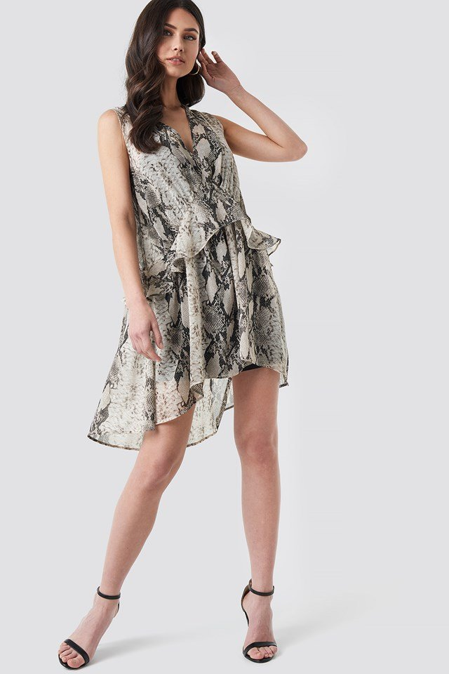 Snake printed Short Chiffon Dress Grey