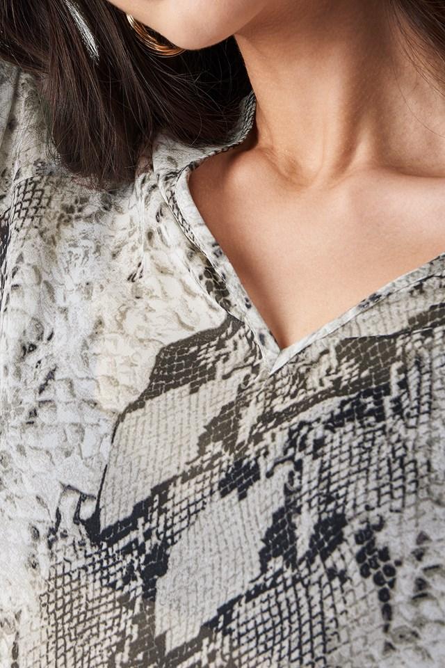 Snake Printed V Neck Blouse Grey