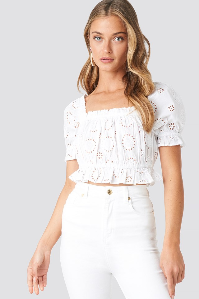 Square Neck Crochet Crop Top White
