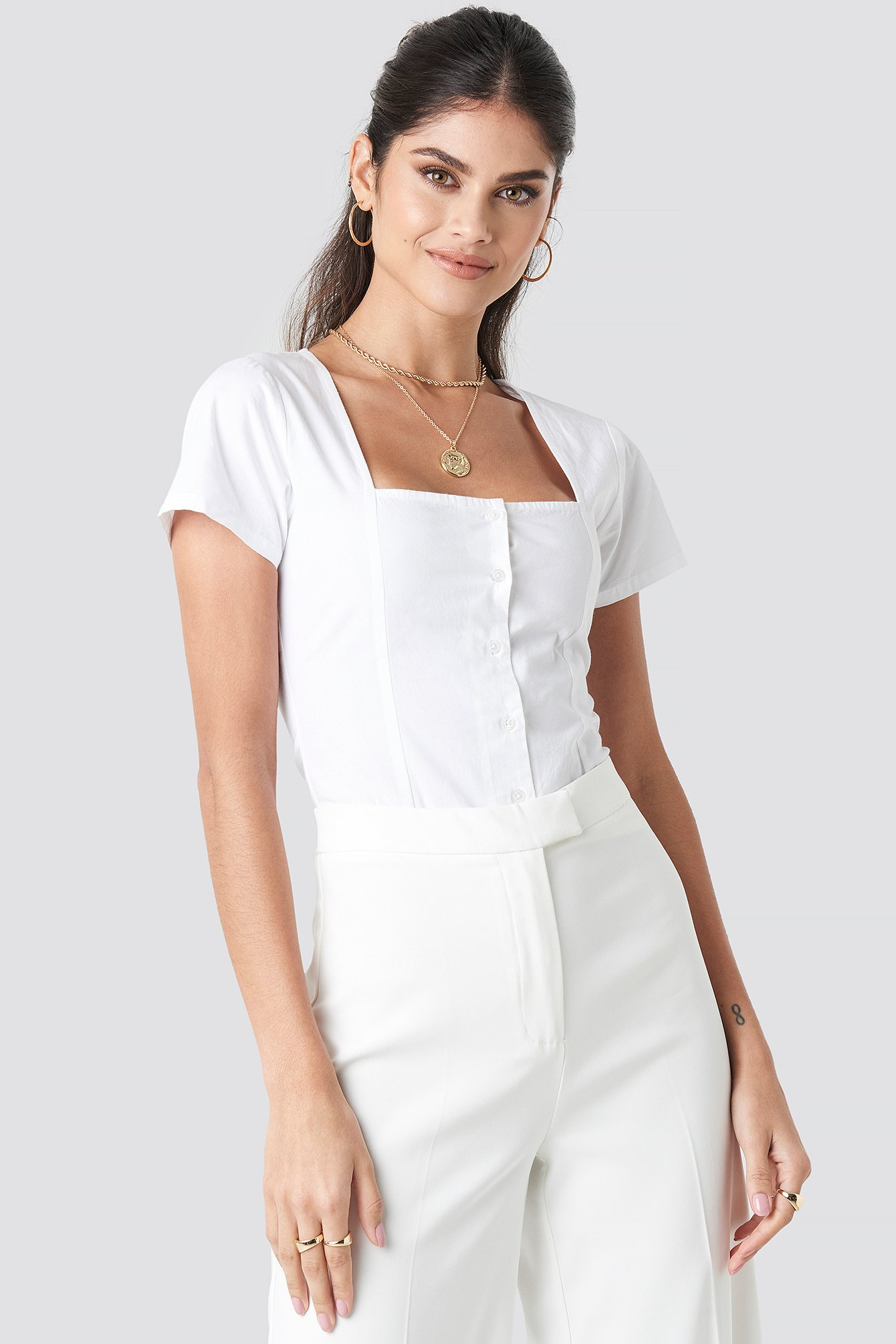 na-kd boho -  Square Neckline Buttoned Top - White