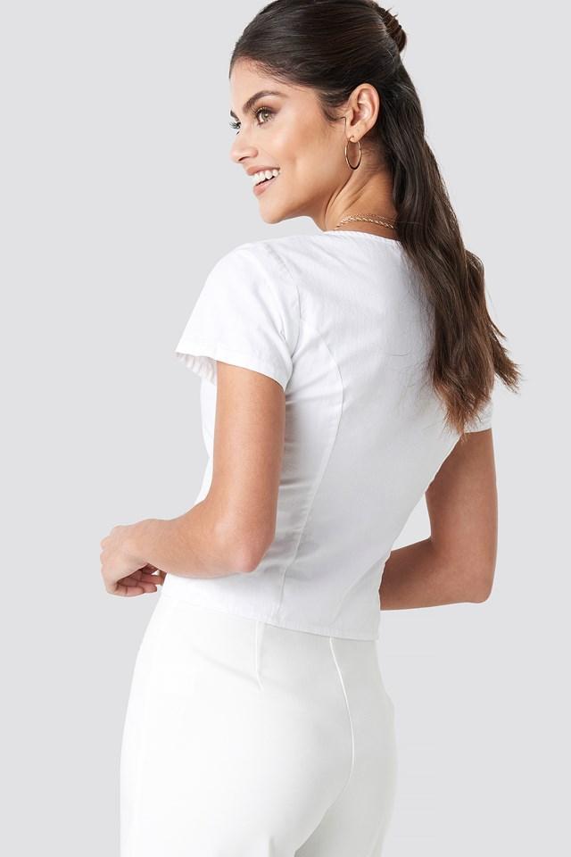 Square Neckline Buttoned Top White