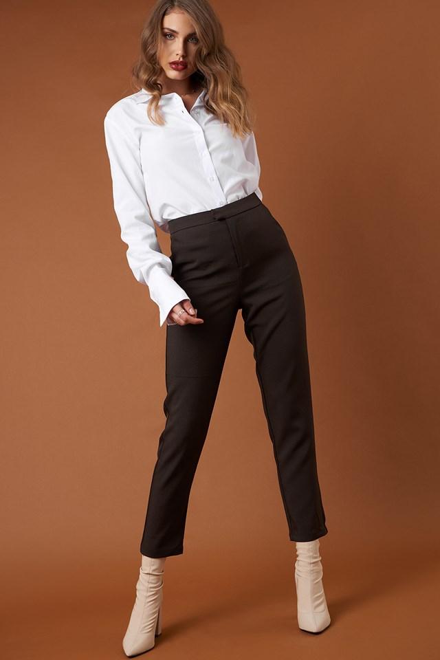 Straight Suit Pants Dark Brown