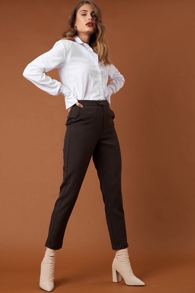 Straight Suit Pants Dark Brown