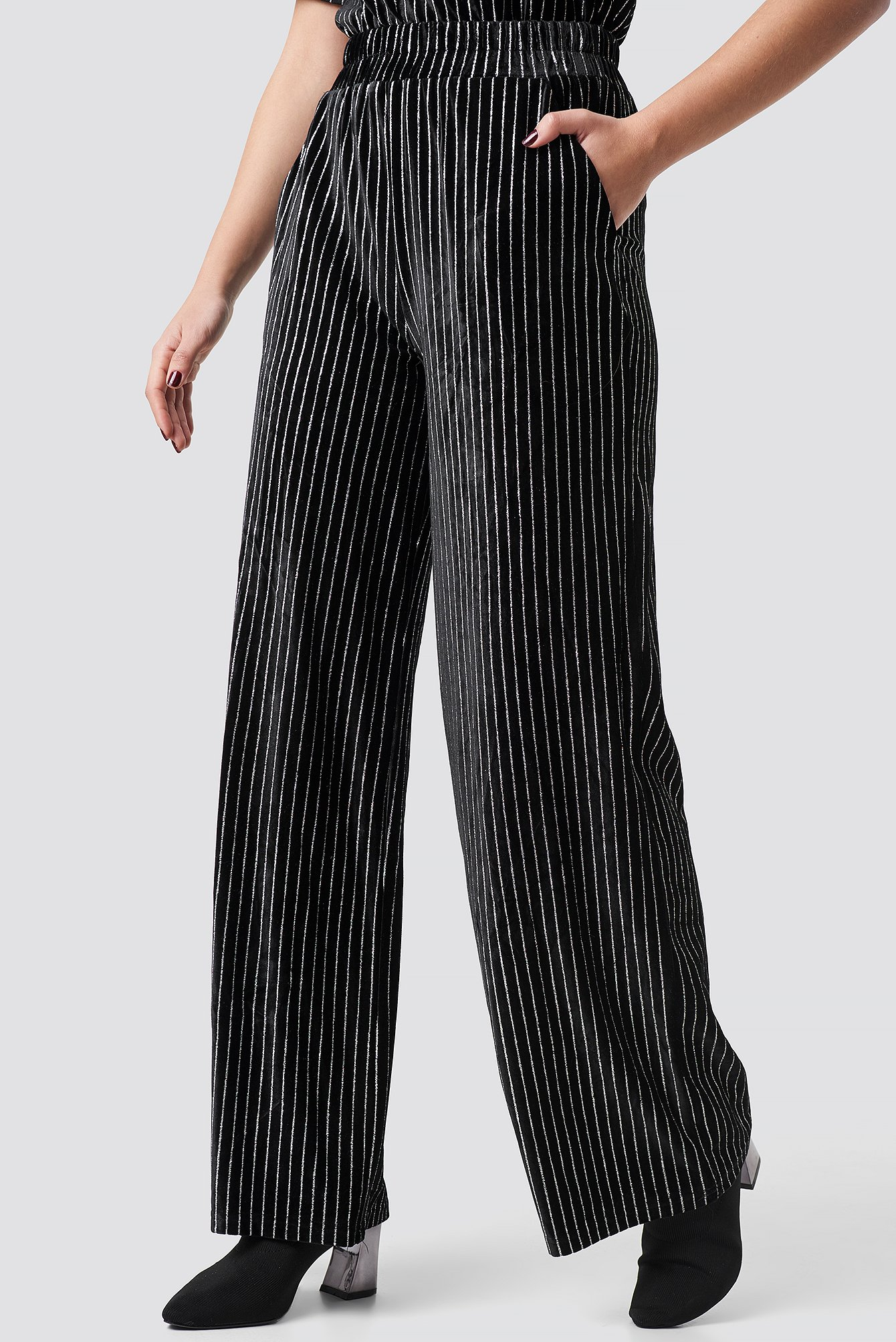 Striped Glittery Velvet Pants NA-KD.COM