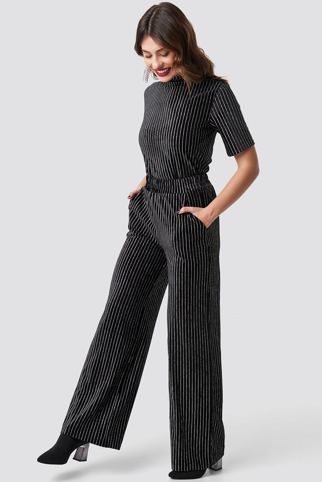 Striped Glittery Velvet Pants Black
