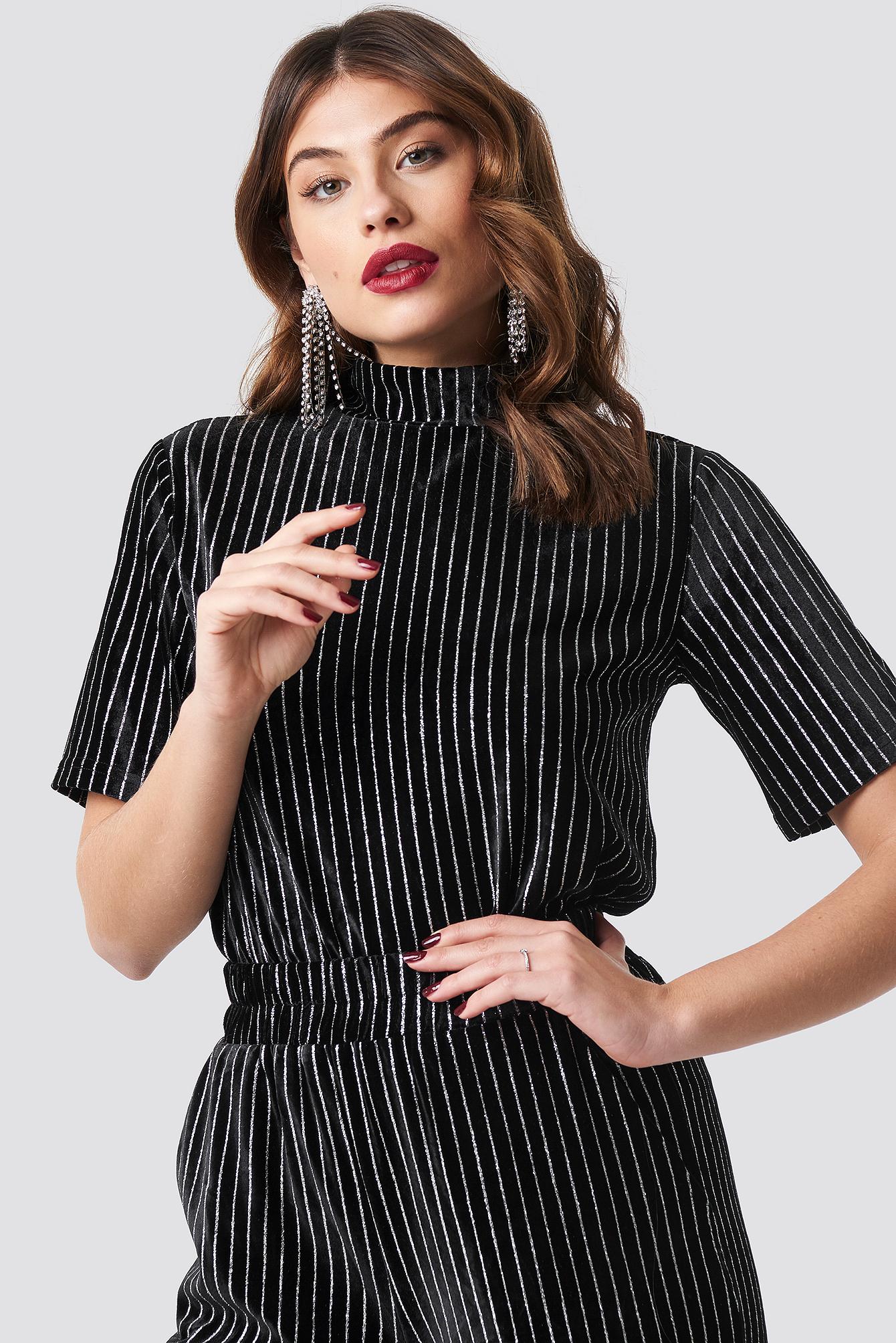 na-kd party -  Striped Glittery Velvet Top - Black