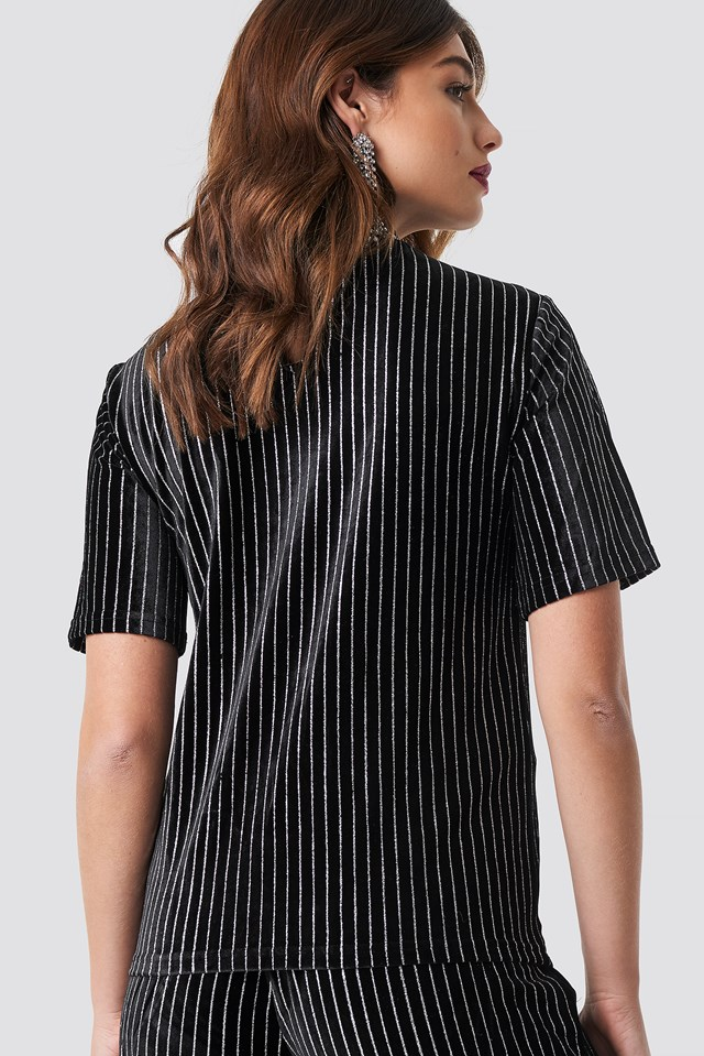 Striped Glittery Velvet Top Black