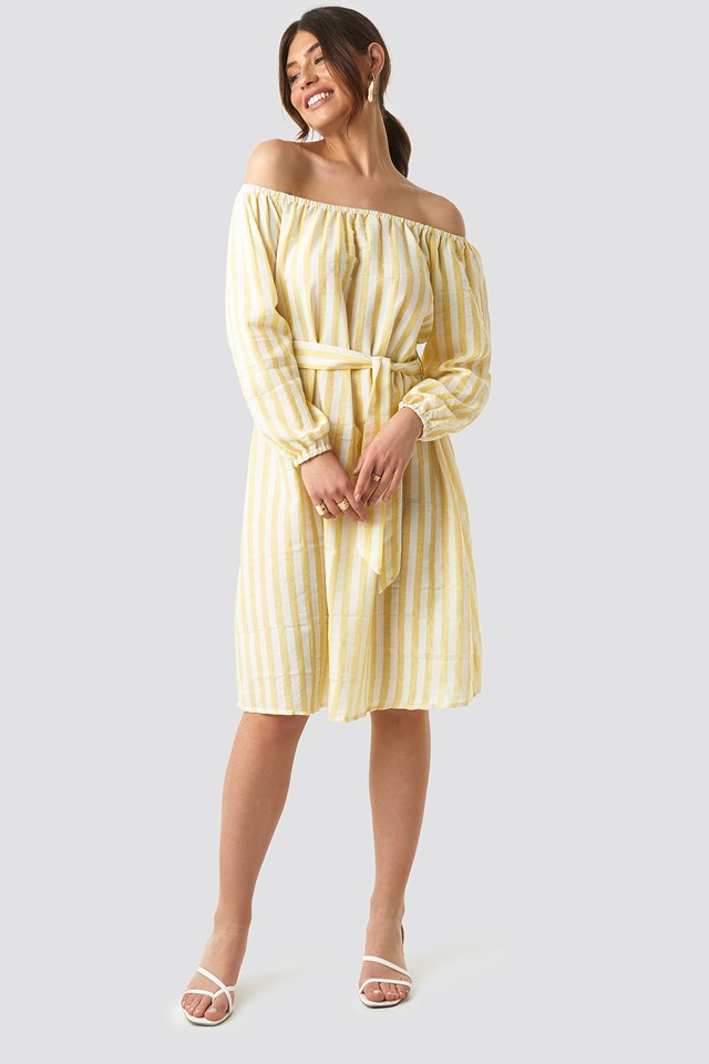 Striped Off Shoulder Tied Waist Dress Yellow White Stripes