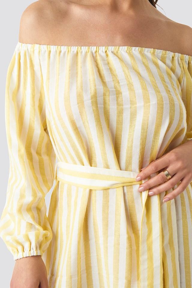 Striped Off Shoulder Tied Waist Dress Yellow White Stripes