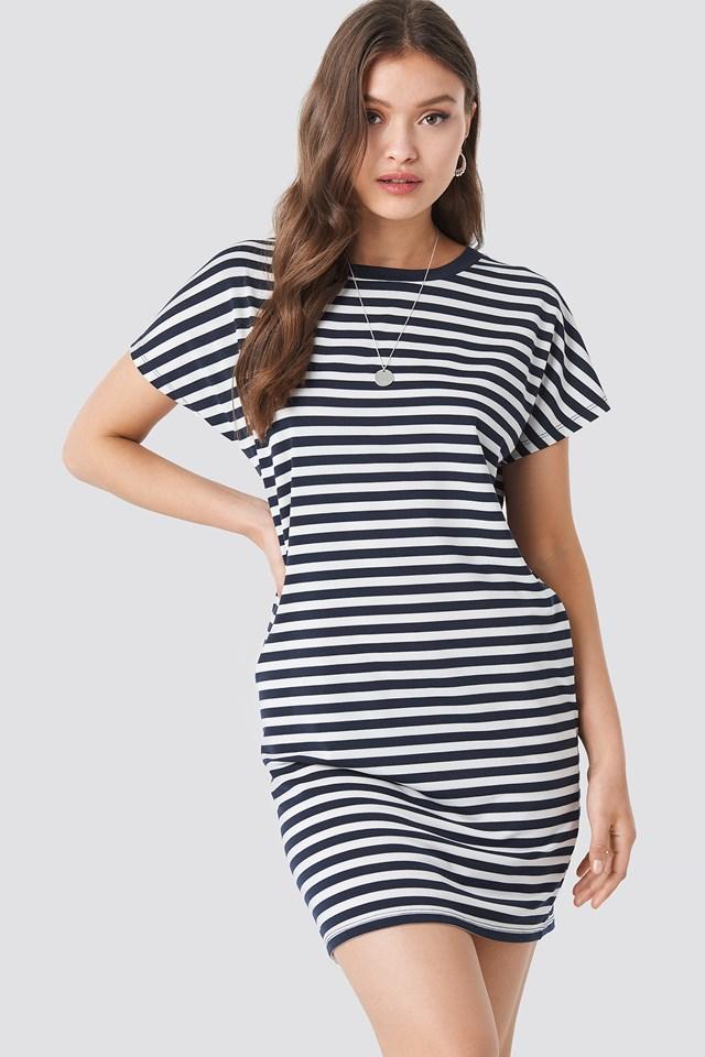 Striped Oversized T-shirt Dress Navy