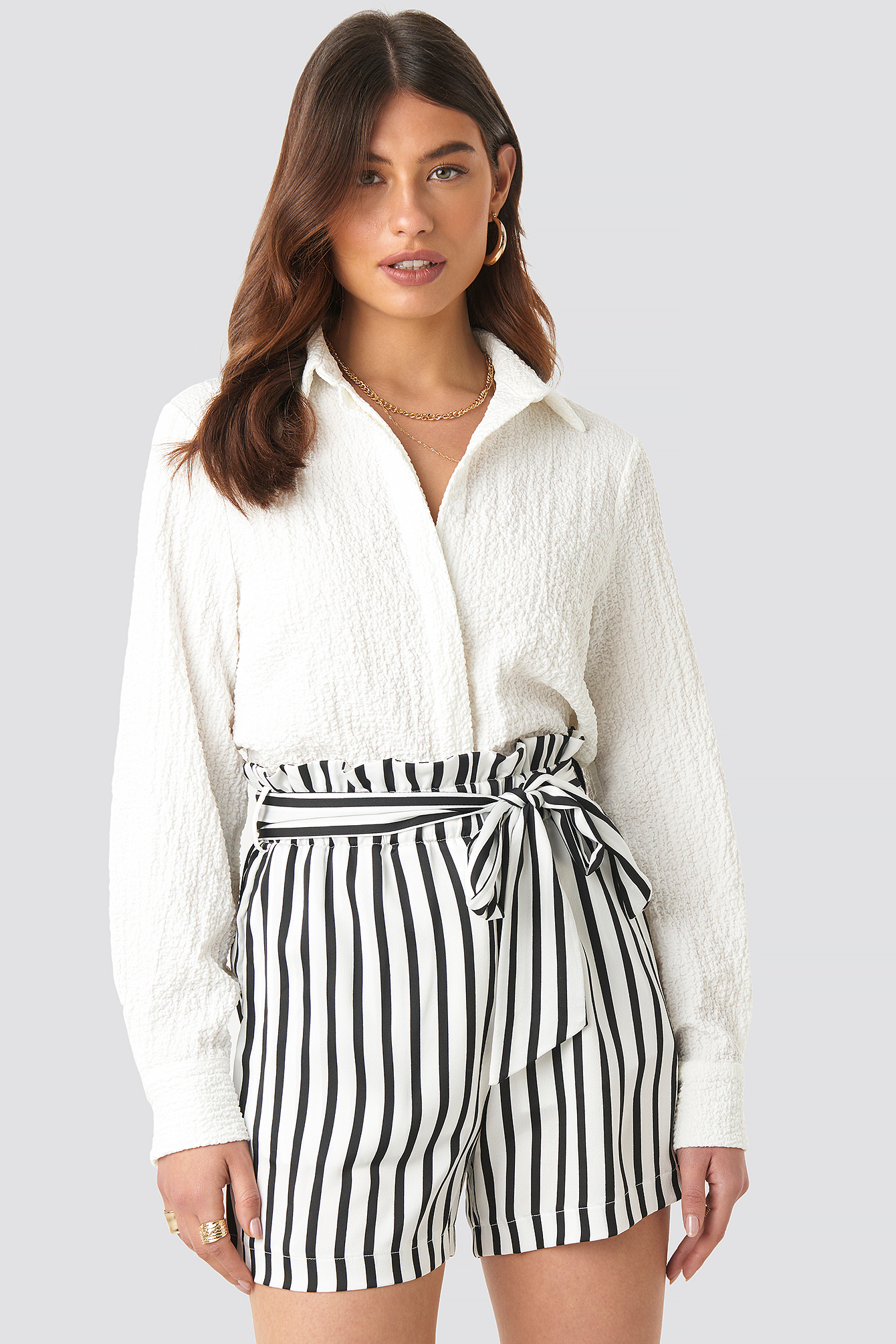 Striped Paperwaist Shorts NA-KD.COM