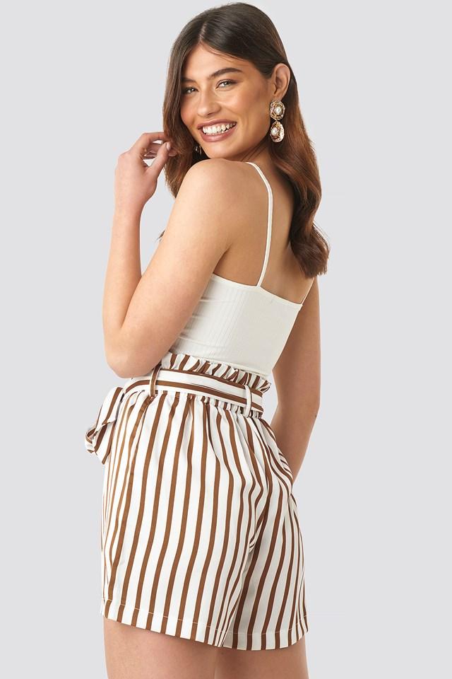 Striped Paperwaist Shorts White/Brown Stripe