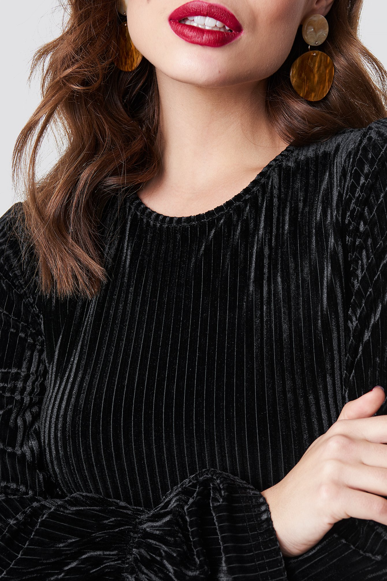 Striped Velvet Long Sleeve Top NA-KD.COM