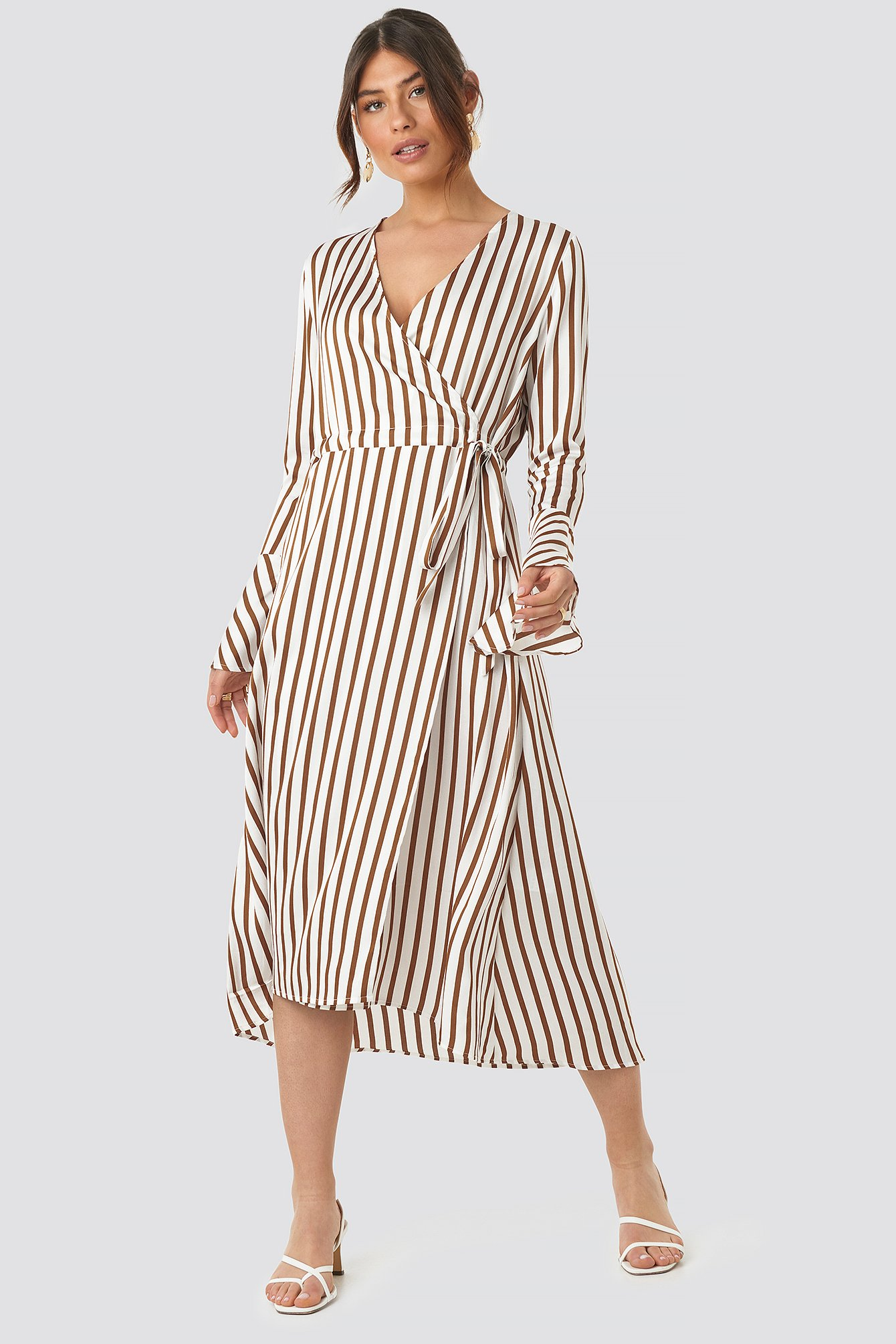 Striped Wide Long Sleeve Dress NA-KD.COM
