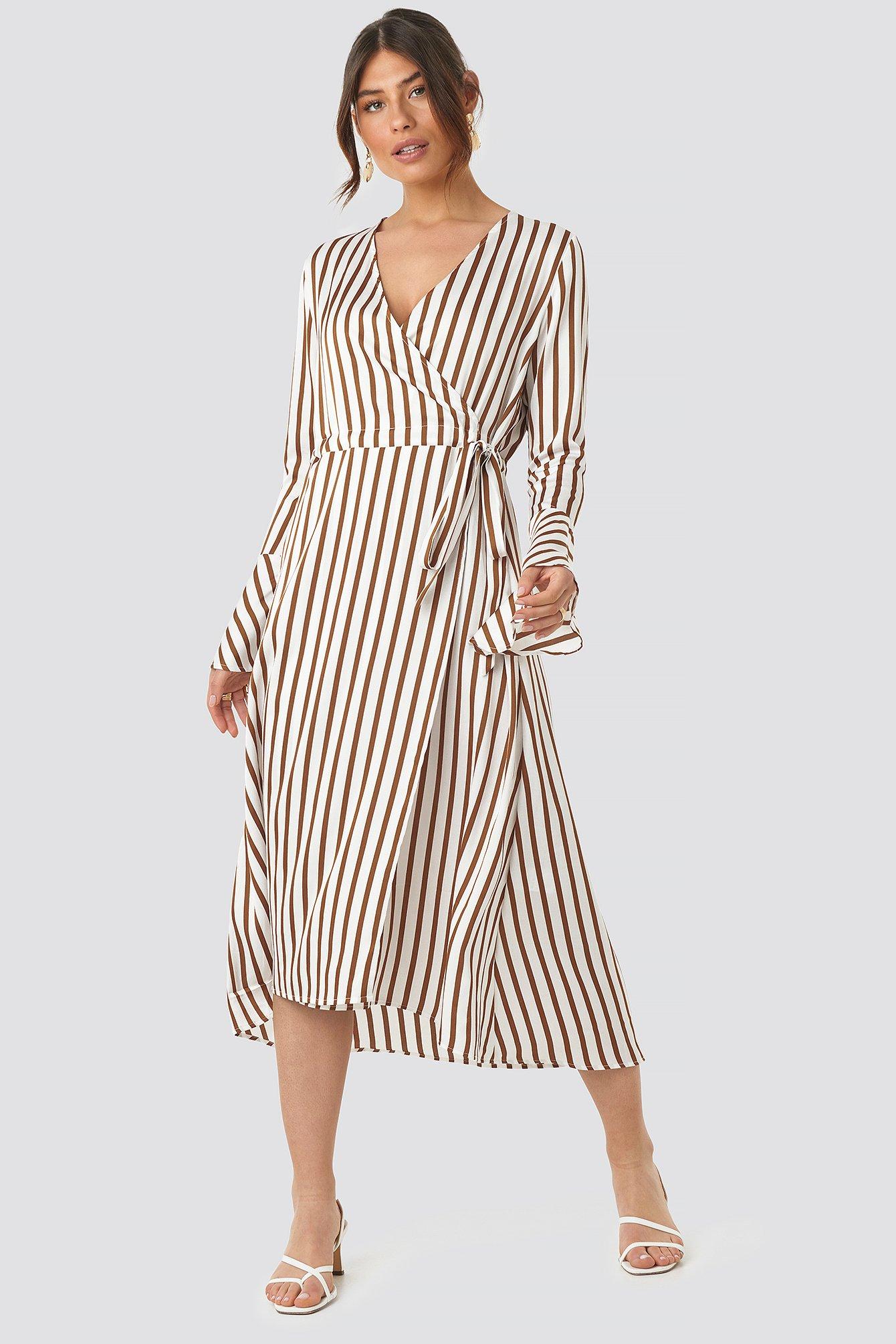 Striped Wide Long Sleeve Dress NA-KD.COM