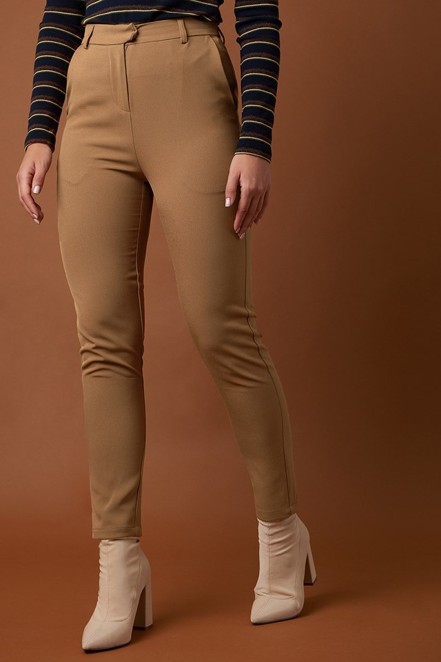 Tailored Straight Suit Pants Toffee