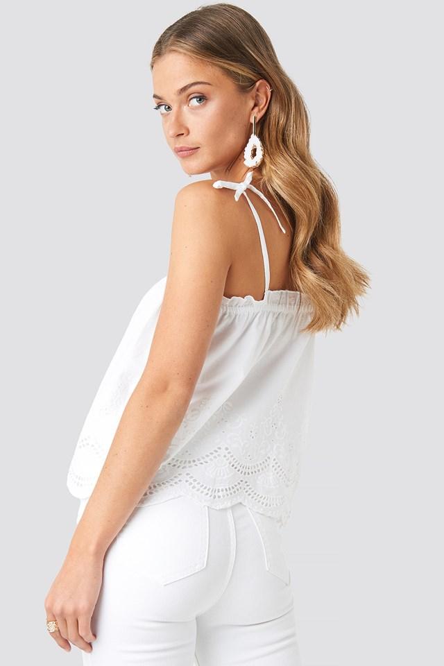 Thin Strap Crochet Singlet White